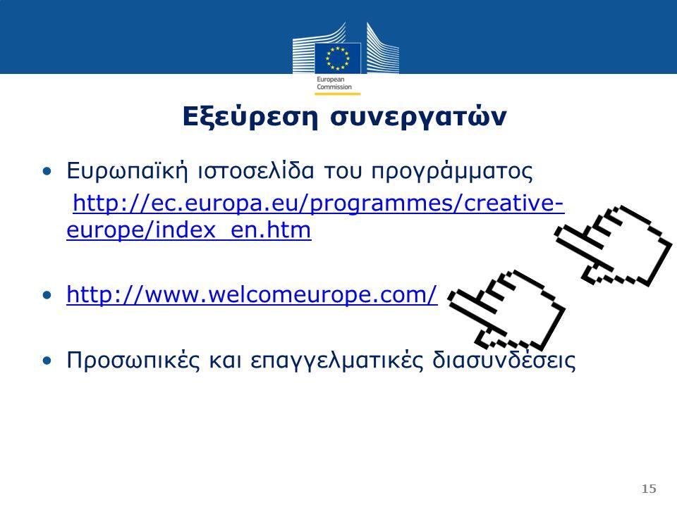 Εξεύρεση συνεργατών 15 Ευρωπαϊκή ιστοσελίδα του προγράμματος http://ec.europa.eu/programmes/creative- europe/index_en.htmhttp://ec.europa.eu/programmes/creative- europe/index_en.htm http://www.welcomeurope.com/ Προσωπικές και επαγγελματικές διασυνδέσεις