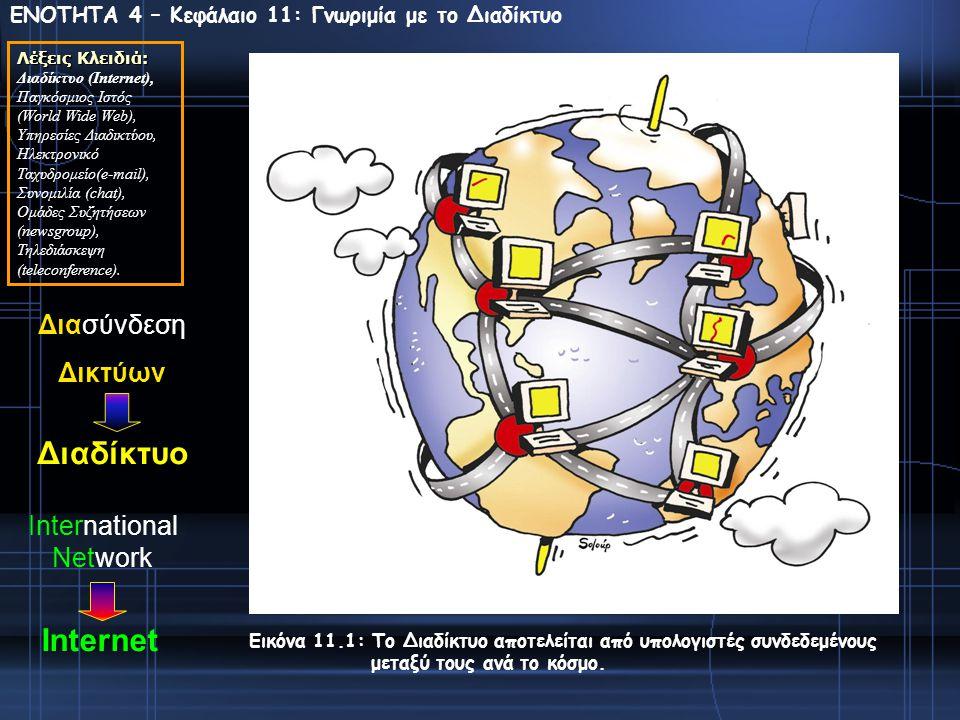 ΕΝΟΤΗΤΑ 4 – Κεφάλαιο 11: Γνωριμία με το Διαδίκτυο Λέξεις Κλειδιά: Διαδίκτυο (Ιnternet), Παγκόσμιος Ιστός (World Wide Web), Υπηρεσίες Διαδικτύου, Ηλεκτρονικό Ταχυδρομείο(e-mail), Συνομιλία (chat), Ομάδες Συζητήσεων (newsgroup), Τηλεδιάσκεψη (teleconference).