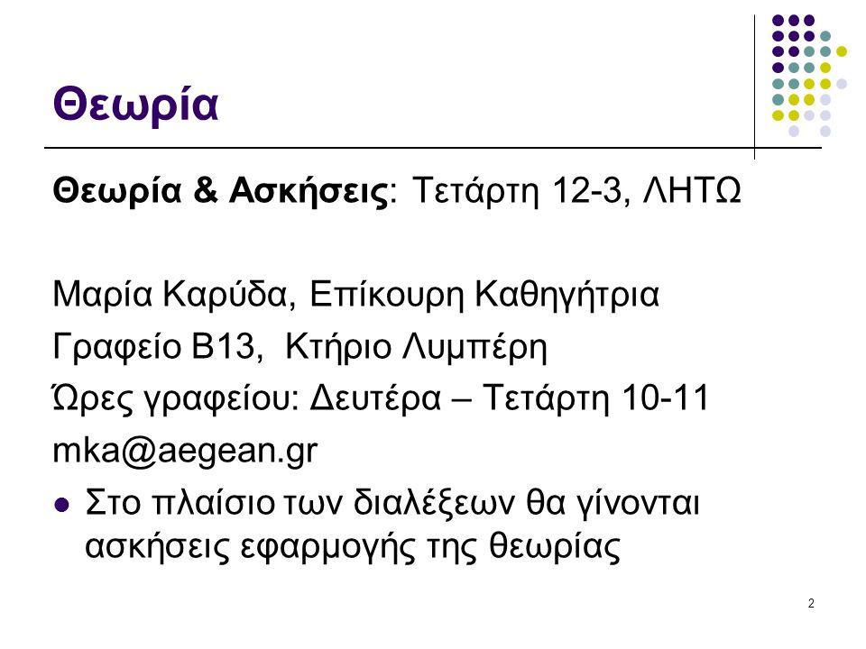 Θεωρία Θεωρία & Ασκήσεις: Τετάρτη 12-3, ΛΗΤΩ Μαρία Καρύδα, Επίκουρη Καθηγήτρια Γραφείο B13, Κτήριο Λυμπέρη Ώρες γραφείου: Δευτέρα – Τετάρτη 10-11 mka@
