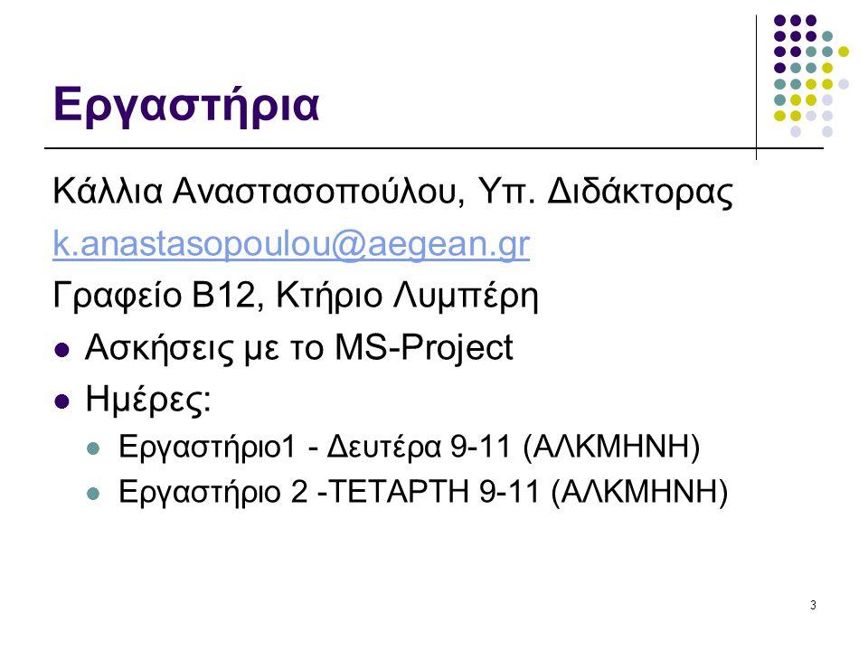 Εργαστήρια Κάλλια Αναστασοπούλου, Υπ. Διδάκτορας k.anastasopoulou@aegean.gr Γραφείο Β12, Κτήριο Λυμπέρη Ασκήσεις με το MS-Project Ημέρες: Εργαστήριο1