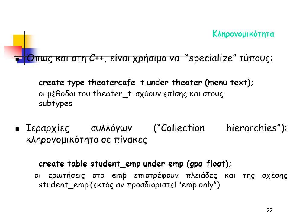 22 Κληρονομικότητα Όπως και στη C++, είναι χρήσιμο να specialize τύπους: create type theatercafe_t under theater (menu text); οι μέθοδοι του theater_t ισχύουν επίσης και στους subtypes Ιεραρχίες συλλόγων ( Collection hierarchies ): κληρονομικότητα σε πίνακες create table student_emp under emp (gpa float); οι ερωτήσεις στο emp επιστρέφουν πλειάδες και της σχέσης student_emp (εκτός αν προσδιοριστεί emp only )