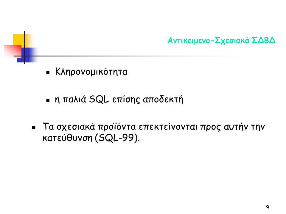 9 Αντικειμενο-Σχεσιακά ΣΔΒΔ Κληρονομικότητα η παλιά SQL επίσης αποδεκτή Τα σχεσιακά προϊόντα επεκτείνονται προς αυτήν την κατεύθυνση (SQL-99).