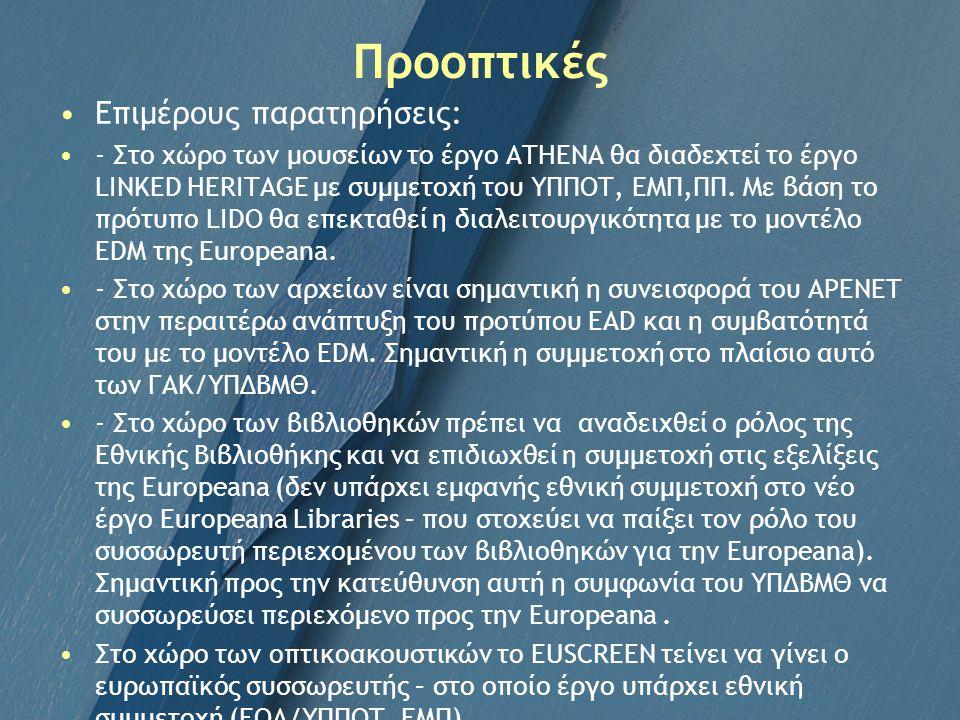 Προοπτικές Επιμέρους παρατηρήσεις: - Στο χώρο των μουσείων το έργο ATHENA θα διαδεχτεί το έργο LINKED HERITAGE με συμμετοχή του ΥΠΠΟΤ, ΕΜΠ,ΠΠ. Με βάση