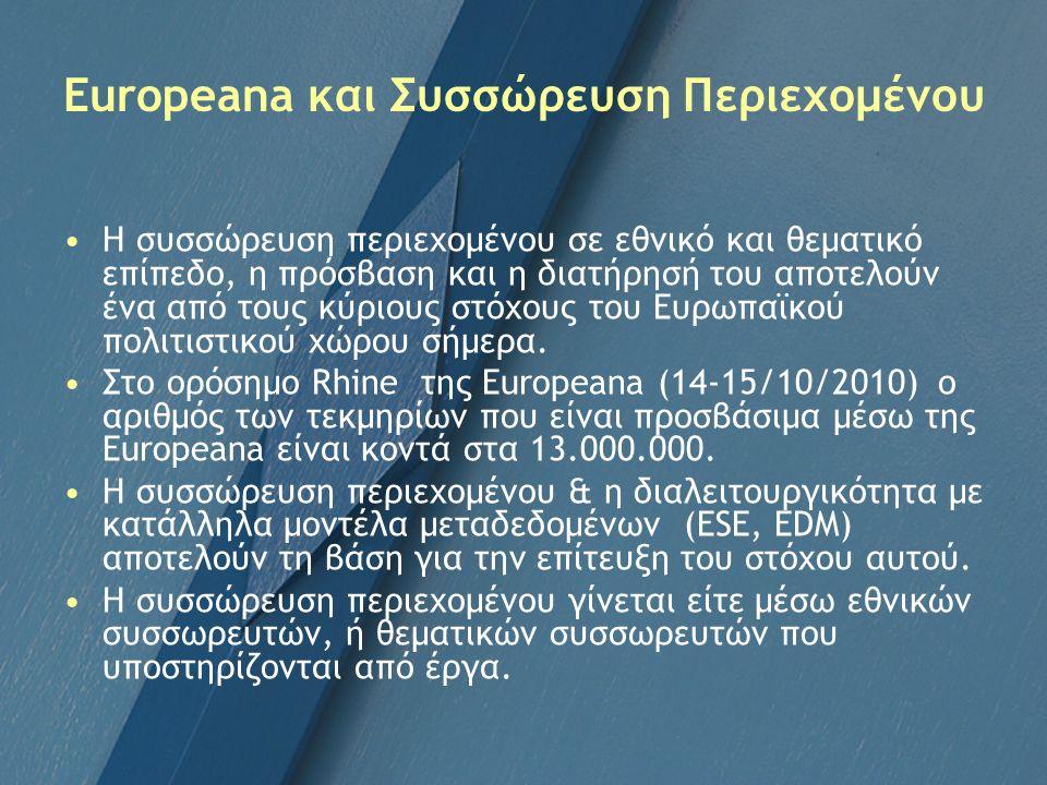 Europeana και Συσσώρευση Περιεχομένου Η συσσώρευση περιεχομένου σε εθνικό και θεματικό επίπεδο, η πρόσβαση και η διατήρησή του αποτελούν ένα από τους κύριους στόχους του Ευρωπαϊκού πολιτιστικού χώρου σήμερα.