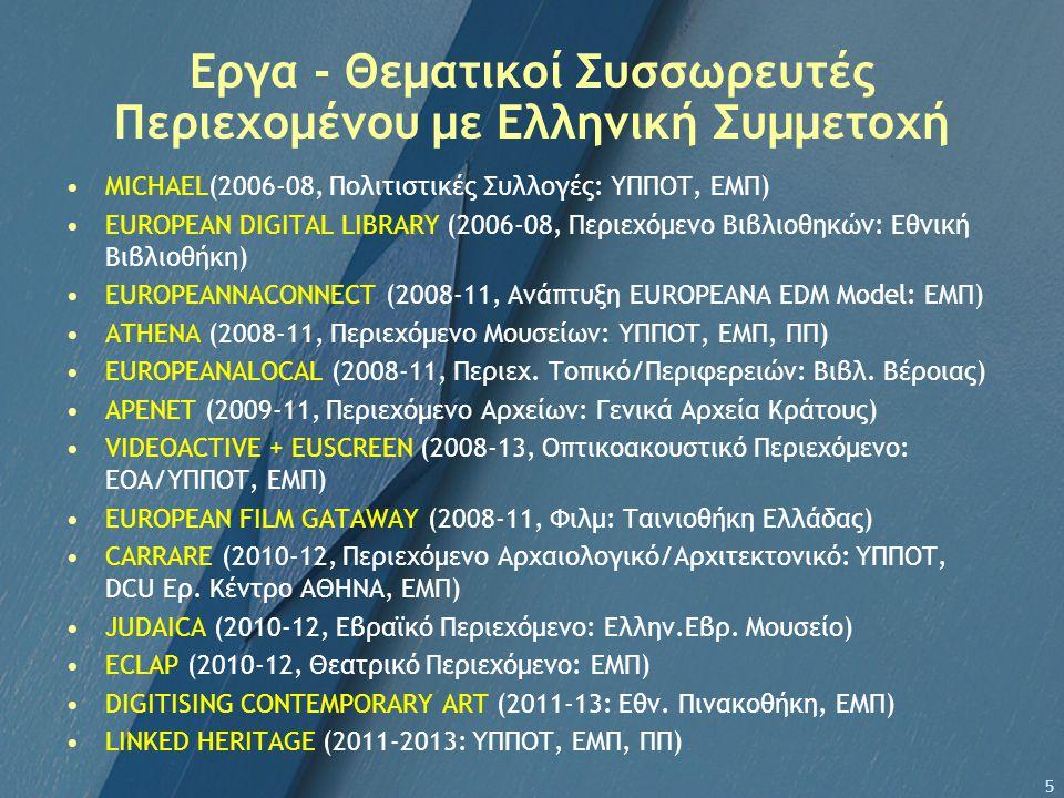 Εργα - Θεματικοί Συσσωρευτές Περιεχομένου με Ελληνική Συμμετοχή MΙCHAEL(2006-08, Πολιτιστικές Συλλογές: ΥΠΠΟΤ, ΕΜΠ) EUROPEAN DIGITAL LIBRARY (2006-08, Περιεχόμενο Βιβλιοθηκών: Εθνική Βιβλιοθήκη) EUROPEANNACONNECT (2008-11, Ανάπτυξη EUROPEANA EDM Model: ΕΜΠ) ΑΤΗΕΝΑ (2008-11, Περιεχόμενο Μουσείων: ΥΠΠΟΤ, ΕΜΠ, ΠΠ) EUROPEANALOCAL (2008-11, Περιεχ.