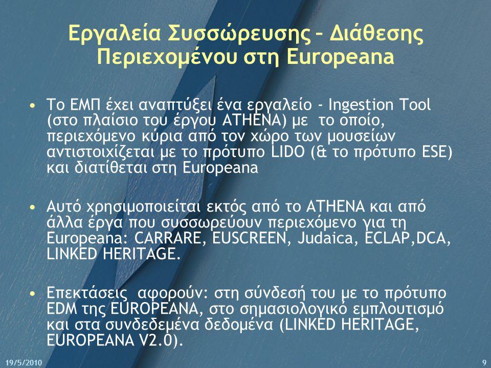 19/5/20109 Εργαλεία Συσσώρευσης – Διάθεσης Περιεχομένου στη Europeana Το ΕΜΠ έχει αναπτύξει ένα εργαλείο - Ingestion Tool (στο πλαίσιο του έργου ATHENA) με το οποίο, περιεχόμενο κύρια από τον χώρο των μουσείων αντιστοιχίζεται με το πρότυπο LIDO (& το πρότυπο ESE) και διατίθεται στη Europeana Αυτό χρησιμοποιείται εκτός από το ATHEΝΑ και από άλλα έργα που συσσωρεύουν περιεχόμενο για τη Europeana: CARRARE, EUSCREEN, Judaica, ECLAP,DCA, LINKED HERITAGE.