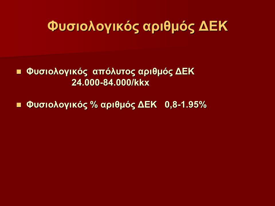 Φυσιολογικός αριθμός ΔΕΚ Φυσιολογικός απόλυτος αριθμός ΔΕΚ Φυσιολογικός απόλυτος αριθμός ΔΕΚ 24.000-84.000/kkx 24.000-84.000/kkx Φυσιολογικός % αριθμό