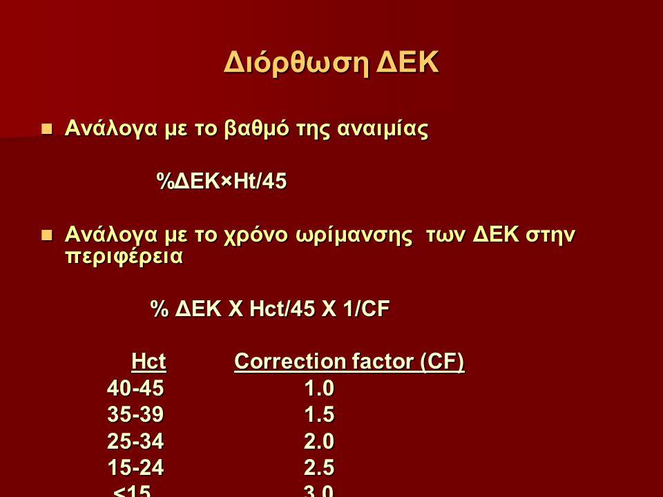 Διόρθωση ΔΕΚ Ανάλογα με το βαθμό της αναιμίας Ανάλογα με το βαθμό της αναιμίας %ΔΕΚ×Ht/45 %ΔΕΚ×Ht/45 Ανάλογα με το χρόνο ωρίμανσης των ΔΕΚ στην περιφέ