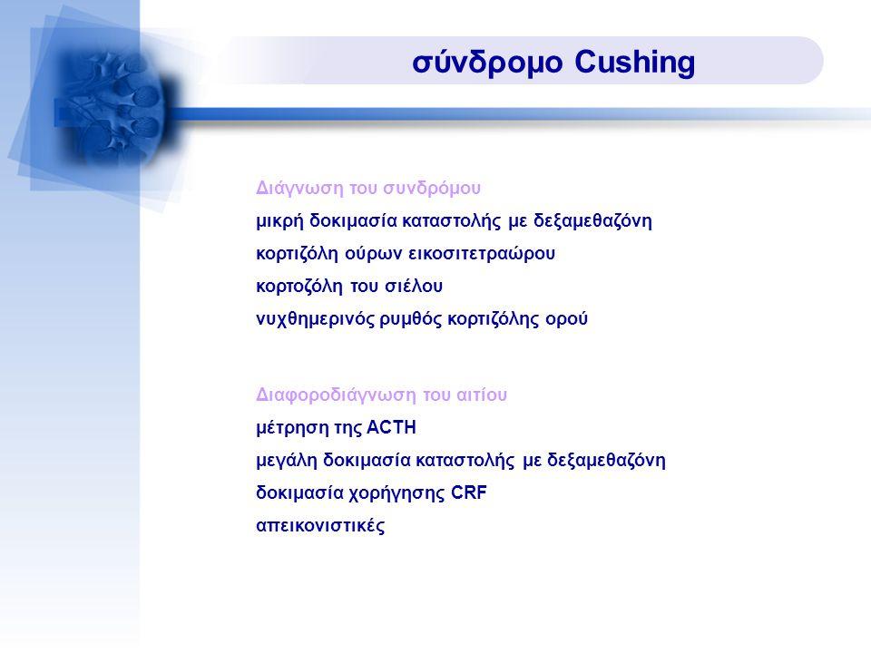 σύνδρομο Cushing μικρή δοκιμασία καταστολής με δεξαμεθαζόνη κορτιζόλη ούρων εικοσιτετραώρου κορτοζόλη του σιέλου νυχθημερινός ρυμθός κορτιζόλης ορού Διάγνωση του συνδρόμου μέτρηση της ACTH μεγάλη δοκιμασία καταστολής με δεξαμεθαζόνη δοκιμασία χορήγησης CRF απεικονιστικές Διαφοροδιάγνωση του αιτίου