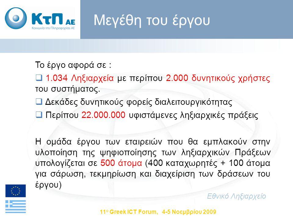 11 ο Greek ICT Forum, 4-5 Νοεμβρίου 2009 Το έργο αφορά σε :  1.034 Ληξιαρχεία με περίπου 2.000 δυνητικούς χρήστες του συστήματος.  Δεκάδες δυνητικού