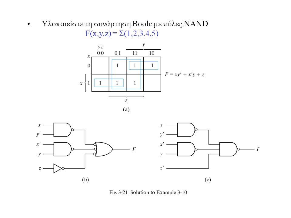 Υλοποιείστε τη συνάρτηση Boole με πύλες NAND F(x,y,z) = Σ(1,2,3,4,5)