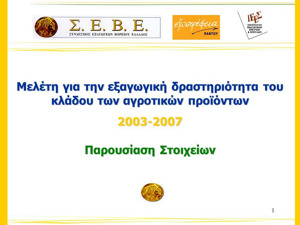 1 Μελέτη για την εξαγωγική δραστηριότητα του κλάδου των αγροτικών προϊόντων 2003-2007 Παρουσίαση Στοιχείων
