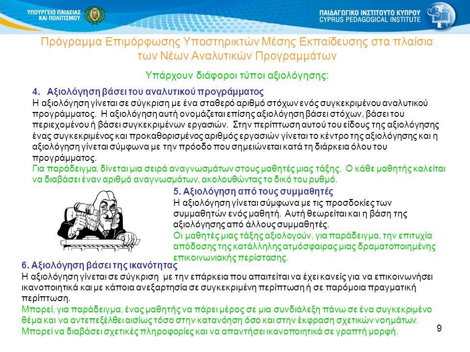 40 Πρόγραμμα Επιμόρφωσης Μάχιμων Εκπαιδευτικών Μέσης Εκπαίδευσης στα πλαίσια των Νέων Αναλυτικών Προγραμμάτων Αξιολόγηση Θεματικών Ενοτήτων ΝΑΞΓ (Από συναδέλφους σε ομάδες) ΚΡΙΤΗΡΙΑ Γενικές αρχές: ομαδική, συνεργατική, μαθητοκεντρική, βιωματική και ενεργό μάθηση ΚΕΠΑ: Επίπεδα, Θέματα, Τύποι δραστηριοτήτων, Είδη επικοινωνιακού προφορικού & γραπτού λόγου Δεξιότητες, Ποικιλία δραστηριοτήτων, ρόλων, επικοινωνιακών περιστάσεων αυθεντικού τύπου, γλωσσικά στοιχεία (γραμματική), λεξιλόγιο, προφορά, πολιτιστικά και διαπολιτισμικά και πολυπολιτισμικά στοιχεία, Συνοχή, (Εναλλακτική;) Αξιολόγηση Ποικιλία πηγών Χρήση των Νέων Τεχνολογιών