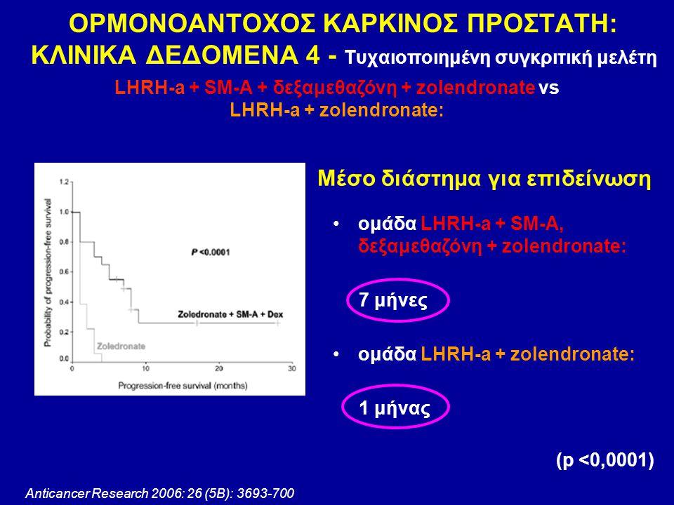 Anticancer Research 2006: 26 (5Β): 3693-700 ΟΡΜΟΝΟΑΝΤΟΧΟΣ ΚΑΡΚΙΝΟΣ ΠΡΟΣΤΑΤΗ: ΚΛΙΝΙΚΑ ΔΕΔΟΜΕΝΑ 4 - Τυχαιοποιημένη συγκριτική μελέτη LHRH-a + SM-A + δεξ