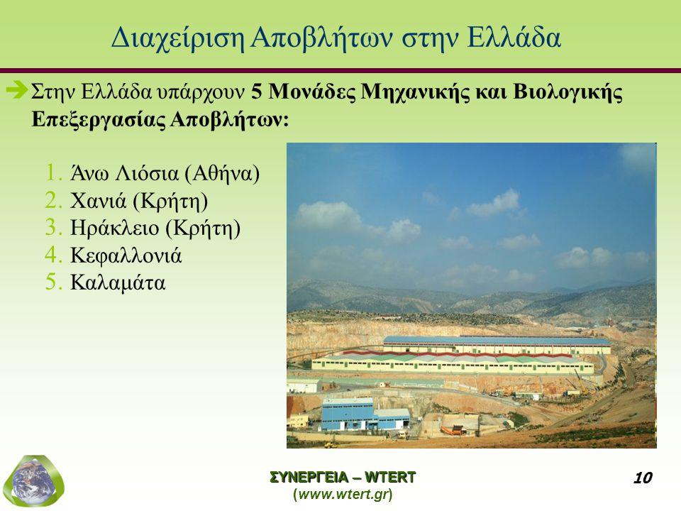 ΣΥΝΕΡΓΕΙΑ – WTERT (www.wtert.gr) 10 Διαχείριση Αποβλήτων στην Ελλάδα   Στην Ελλάδα υπάρχουν 5 Μονάδες Μηχανικής και Βιολογικής Επεξεργασίας Αποβλήτων: 1.