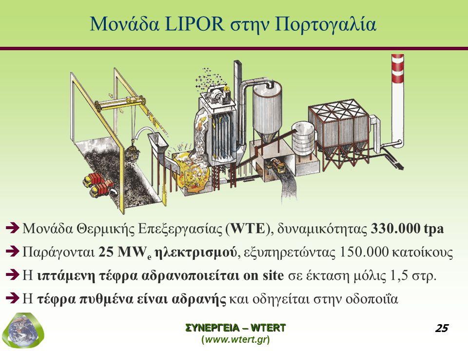 ΣΥΝΕΡΓΕΙΑ – WTERT (www.wtert.gr) 25 Μονάδα LIPOR στην Πορτογαλία  Μονάδα Θερμικής Επεξεργασίας (WTE), δυναμικότητας 330.000 tpa  Παράγονται 25 MW e ηλεκτρισμού, εξυπηρετώντας 150.000 κατοίκους  Η ιπτάμενη τέφρα αδρανοποιείται on site σε έκταση μόλις 1,5 στρ.
