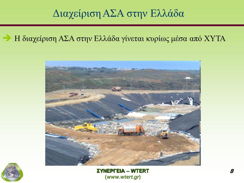 ΣΥΝΕΡΓΕΙΑ – WTERT (www.wtert.gr) 8 Διαχείριση ΑΣΑ στην Ελλάδα   Η διαχείριση ΑΣΑ στην Ελλάδα γίνεται κυρίως μέσα από ΧΥΤΑ