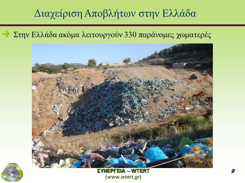 ΣΥΝΕΡΓΕΙΑ – WTERT (www.wtert.gr) 9 Διαχείριση Αποβλήτων στην Ελλάδα   Στην Ελλάδα ακόμα λειτουργούν 330 παράνομες χωματερές
