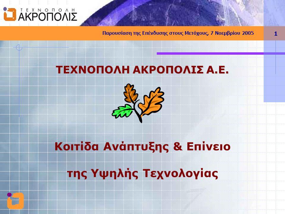 Παρουσίαση της Επένδυσης στους Μετόχους, 7 Νοεμβρίου 2005 1 Κοιτίδα Ανάπτυξης & Επίνειο της Υψηλής Τεχνολογίας ΤΕΧΝΟΠΟΛΗ ΑΚΡΟΠΟΛΙΣ Α.Ε.