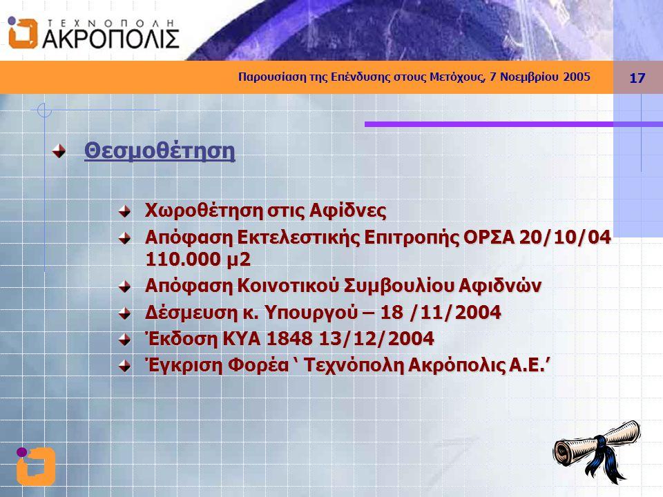 Παρουσίαση της Επένδυσης στους Μετόχους, 7 Νοεμβρίου 2005 17 Θεσμοθέτηση Χωροθέτηση στις Αφίδνες Απόφαση Εκτελεστικής Επιτροπής ΟΡΣΑ 20/10/04 110.000 μ2 Απόφαση Κοινοτικού Συμβουλίου Αφιδνών Δέσμευση κ.