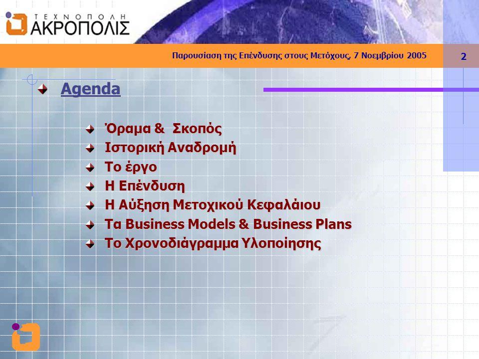 Παρουσίαση της Επένδυσης στους Μετόχους, 7 Νοεμβρίου 2005 2 Agenda Όραμα & Σκοπός Ιστορική Αναδρομή To έργο Η Επένδυση Η Αύξηση Μετοχικού Κεφαλάιου Τα Business Models & Business Plans To Χρονοδιάγραμμα Υλοποίησης