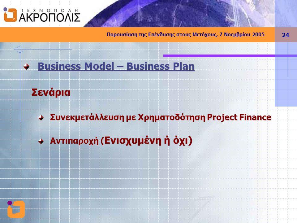 Παρουσίαση της Επένδυσης στους Μετόχους, 7 Νοεμβρίου 2005 24 Business Model – Business Plan Σενάρια Σενάρια Συνεκμετάλλευση με Χρηματοδότηση Project Finance Αντιπαροχή ( Ενισχυμένη Αντιπαροχή ( Ενισχυμένη ή όχι)