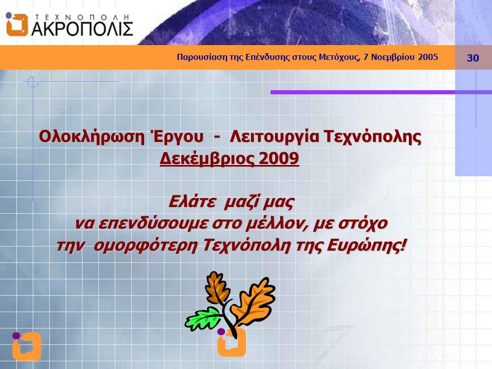 Παρουσίαση της Επένδυσης στους Μετόχους, 7 Νοεμβρίου 2005 30 Ολοκλήρωση Έργου - Λειτουργία Τεχνόπολης Δεκέμβριος 2009 Ελάτε μαζί μας να επενδύσουμε στο μέλλον, με στόχο την ομορφότερη Τεχνόπολη της Ευρώπης!