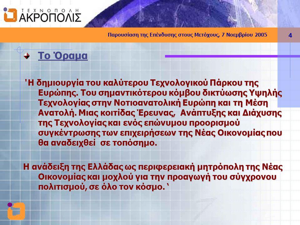 Παρουσίαση της Επένδυσης στους Μετόχους, 7 Νοεμβρίου 2005 5 Ο σκοπός  Η συγκέντρωση των ελληνικών και ξένων εταιριών, ερευνητικών ιδρυμάτων και διεθνών οργανισμών, σε ένα δυναμικό περιβάλλον με σύγχρονες υποδομές, λειτουργικότητα και υψηλή αισθητική,  η διευκόλυνση της επικοινωνίας,  η ανταλλαγή τεχνογνωσίας  η ενθάρρυνση συνεργιών,  η αξιοποίηση οικονομιών κλίμακας  η παλιννόστηση διαπρεπών Ελλήνων Επιστημόνων  η προσέλκυση ξένων επενδύσεων και η δημιουργία νέων επιχειρηματικών ευκαιριών & θέσεων εργασίας  η ανάπτυξη του κλάδου και της Ελληνικής Οικονομίας