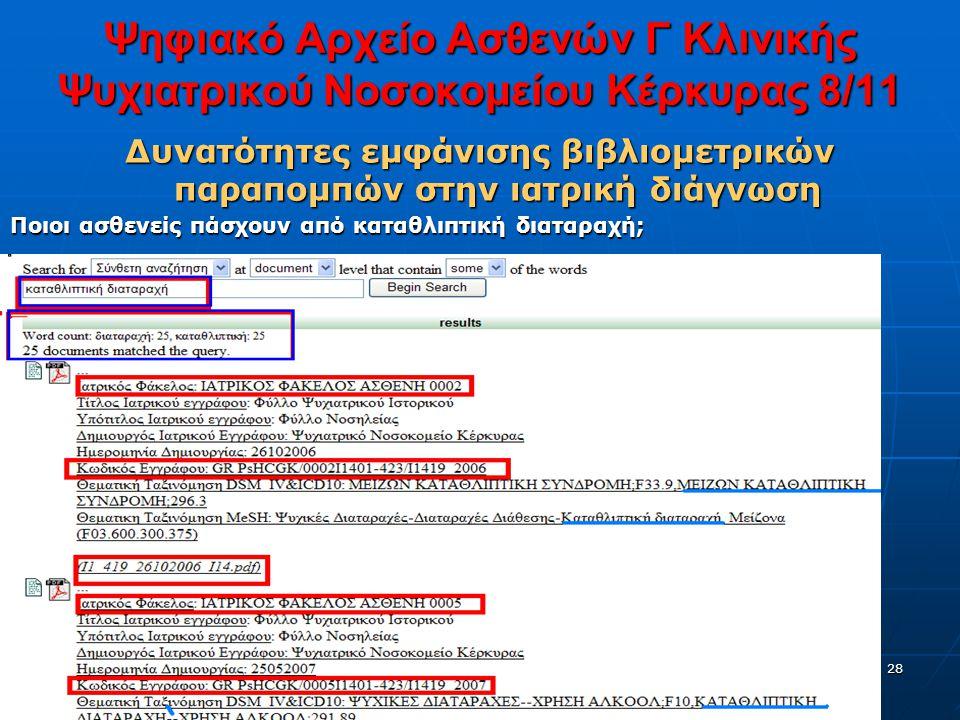 28 Ψηφιακό Αρχείο Ασθενών Γ Κλινικής Ψυχιατρικού Νοσοκομείου Κέρκυρας 8/11 Δυνατότητες εμφάνισης βιβλιομετρικών παραπομπών στην ιατρική διάγνωση Ποιοι ασθενείς πάσχουν από καταθλιπτική διαταραχή;