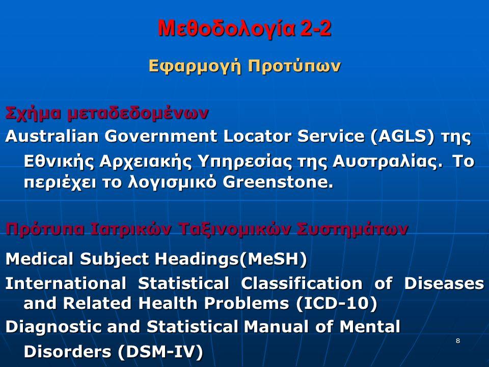8 Μεθοδολογία 2-2 Εφαρμογή Προτύπων Σχήμα μεταδεδομένων Australian Government Locator Service (AGLS) της Εθνικής Αρχειακής Υπηρεσίας της Αυστραλίας.