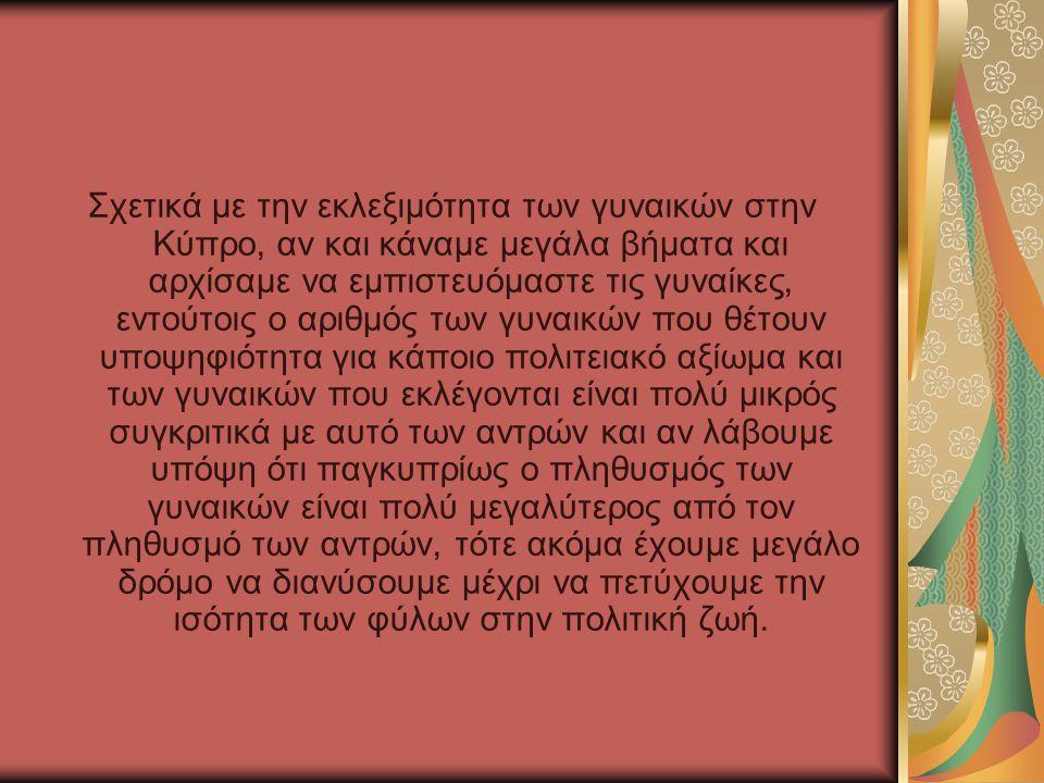 Σχετικά με την εκλεξιμότητα των γυναικών στην Κύπρο, αν και κάναμε μεγάλα βήματα και αρχίσαμε να εμπιστευόμαστε τις γυναίκες, εντούτοις ο αριθμός των γυναικών που θέτουν υποψηφιότητα για κάποιο πολιτειακό αξίωμα και των γυναικών που εκλέγονται είναι πολύ μικρός συγκριτικά με αυτό των αντρών και αν λάβουμε υπόψη ότι παγκυπρίως ο πληθυσμός των γυναικών είναι πολύ μεγαλύτερος από τον πληθυσμό των αντρών, τότε ακόμα έχουμε μεγάλο δρόμο να διανύσουμε μέχρι να πετύχουμε την ισότητα των φύλων στην πολιτική ζωή.