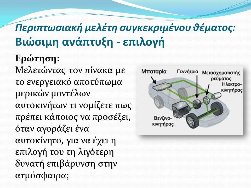 Περιπτωσιακή μελέτη συγκεκριμένου θέματος: Βιώσιμη ανάπτυξη - επιλογή Ερώτηση: Μελετώντας τον πίνακα με το ενεργειακό αποτύπωμα μερικών μοντέλων αυτοκινήτων τι νομίζετε πως πρέπει κάποιος να προσέξει, όταν αγοράζει ένα αυτοκίνητο, για να έχει η επιλογή του τη λιγότερη δυνατή επιβάρυνση στην ατμόσφαιρα;