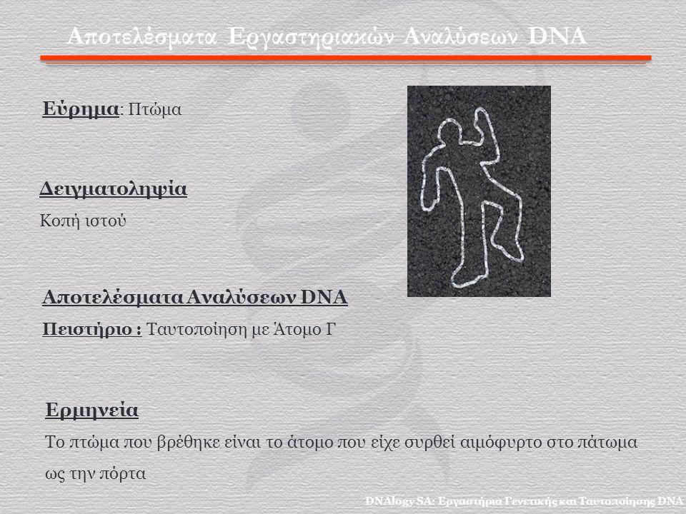Αποτελέσματα Εργαστηριακών Αναλύσεων DNA Εύρημα : Πτώμα Αποτελέσματα Αναλύσεων DNA Πειστήριο : Ταυτοποίηση με Άτομο Γ Δειγματοληψία Κοπή ιστού Ερμηνεία Το πτώμα που βρέθηκε είναι το άτομο που είχε συρθεί αιμόφυρτο στο πάτωμα ως την πόρτα DNAlogy SA: Εργαστήρια Γενετικής και Ταυτοποίησης DNA