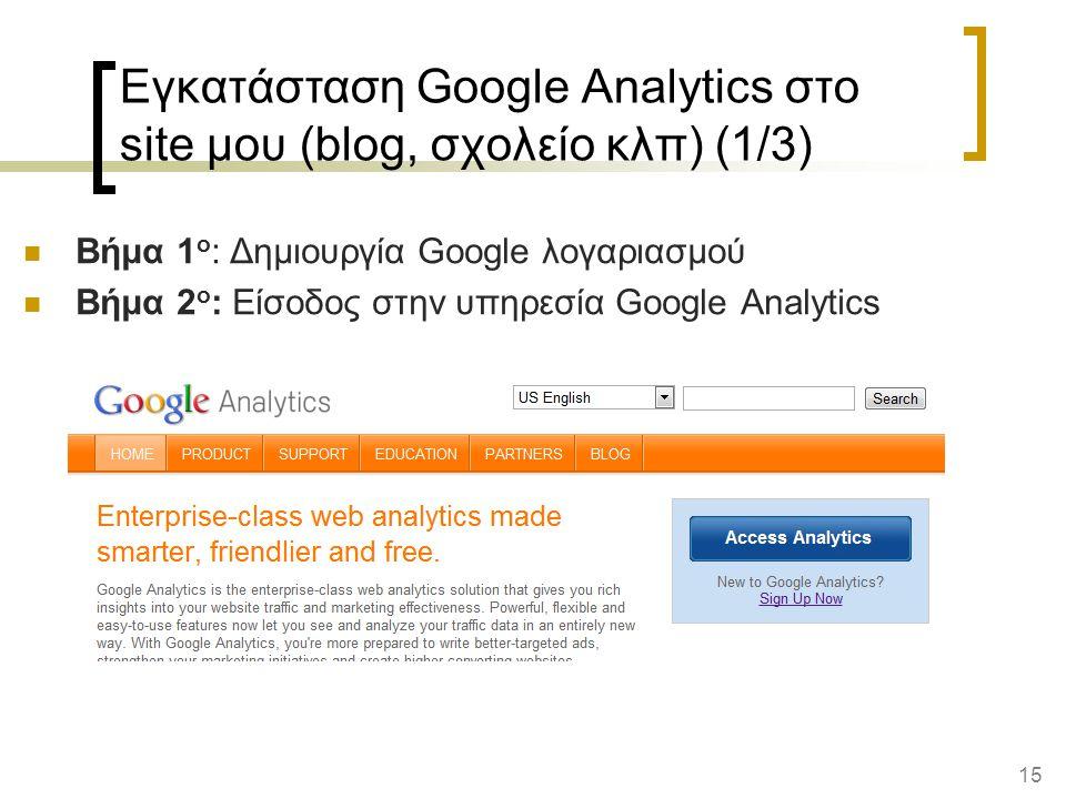 15 Εγκατάσταση Google Analytics στο site μου (blog, σχολείο κλπ) (1/3) Βήμα 1 ο : Δημιουργία Google λογαριασμού Βήμα 2 ο : Είσοδος στην υπηρεσία Google Analytics