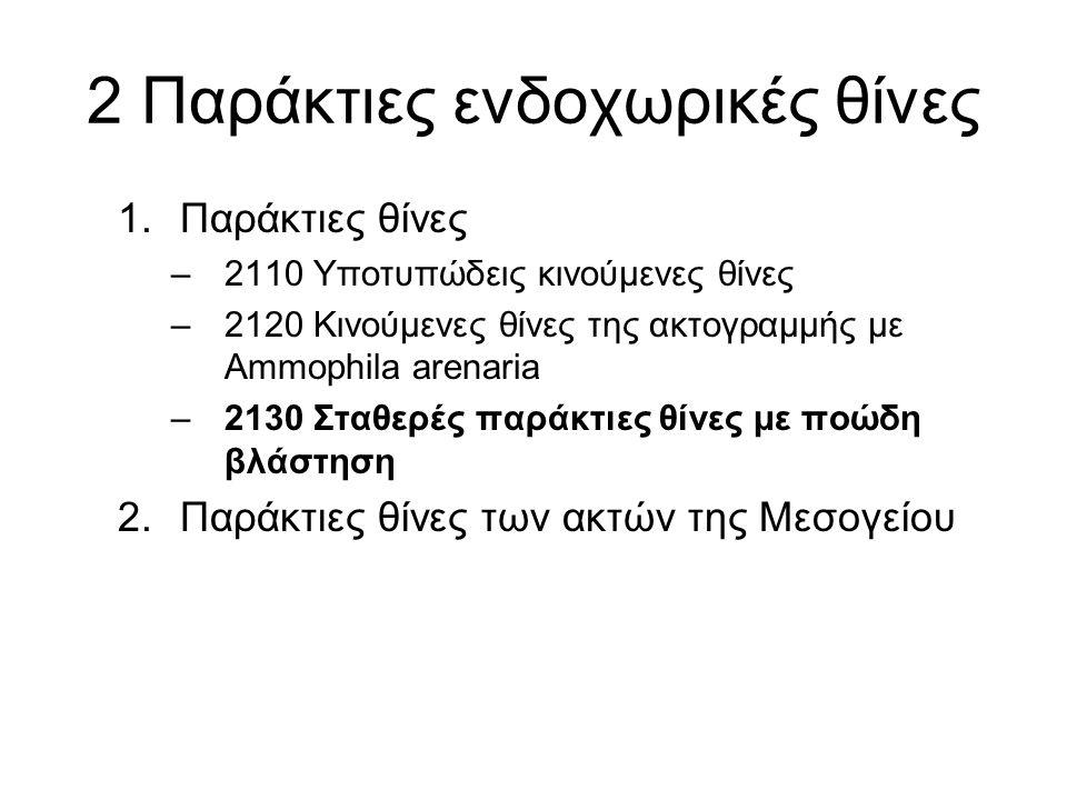 2 Παράκτιες ενδοχωρικές θίνες 1.Παράκτιες θίνες –2110 Υποτυπώδεις κινούμενες θίνες –2120 Κινούμενες θίνες της ακτογραμμής με Ammophila arenaria –2130