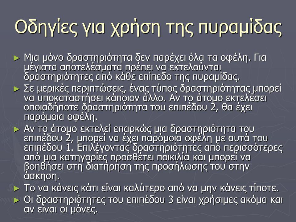 Οδηγίες για χρήση της πυραμίδας ► Μια μόνο δραστηριότητα δεν παρέχει όλα τα οφέλη.
