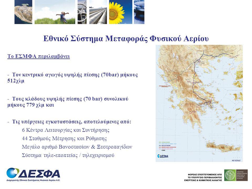 Εθνικό Σύστημα Μεταφοράς Φυσικού Αερίου Το ΕΣΜΦΑ περιλαμβάνει - Τον κεντρικό αγωγός υψηλής πίεσης (70bar) μήκους 512χλμ - Τους κλάδους υψηλής πίεσης (