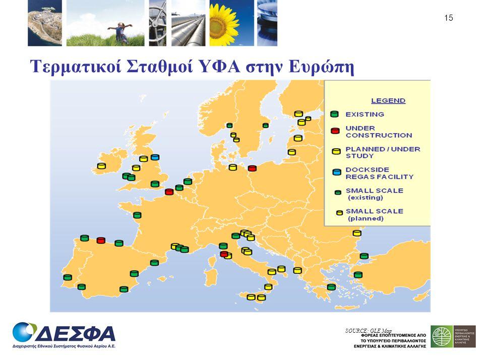 Τερματικοί Σταθμοί ΥΦΑ στην Ευρώπη 15 SOURCE: GLE Map