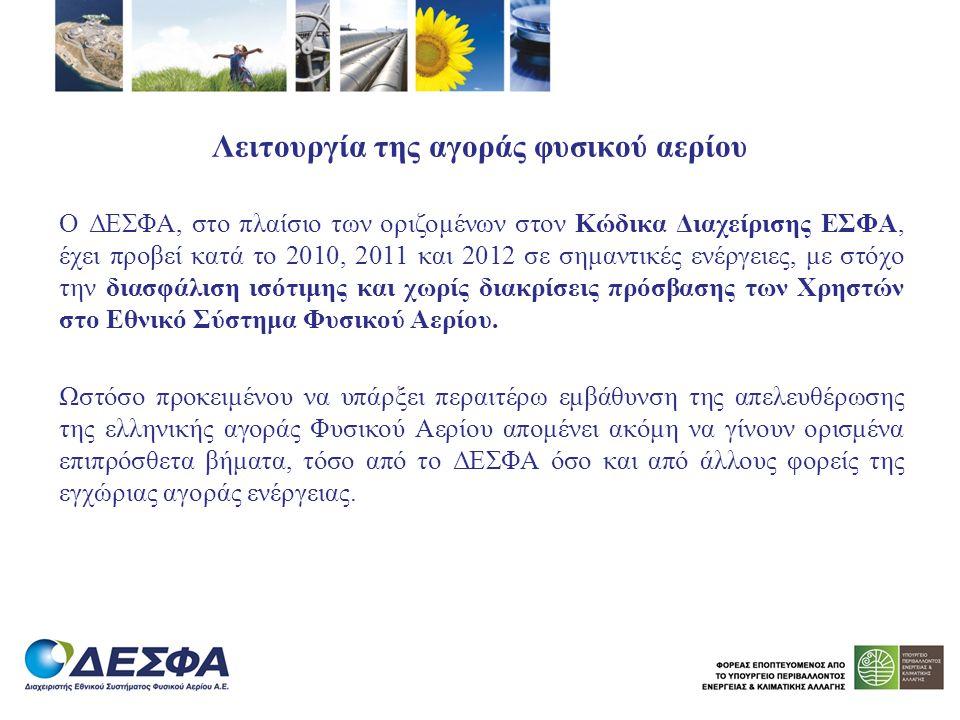 Λειτουργία της αγοράς φυσικού αερίου Ο ΔΕΣΦΑ, στο πλαίσιο των οριζομένων στον Κώδικα Διαχείρισης ΕΣΦΑ, έχει προβεί κατά το 2010, 2011 και 2012 σε σημα