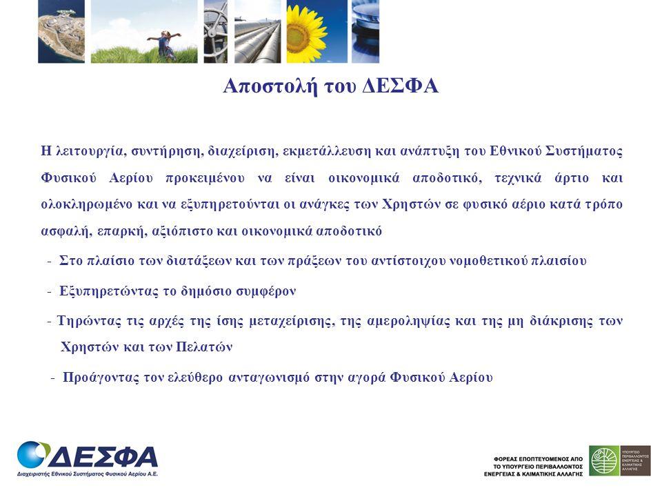 Αποστολή του ΔΕΣΦΑ Η λειτουργία, συντήρηση, διαχείριση, εκμετάλλευση και ανάπτυξη του Εθνικού Συστήματος Φυσικού Αερίου προκειμένου να είναι οικονομικ