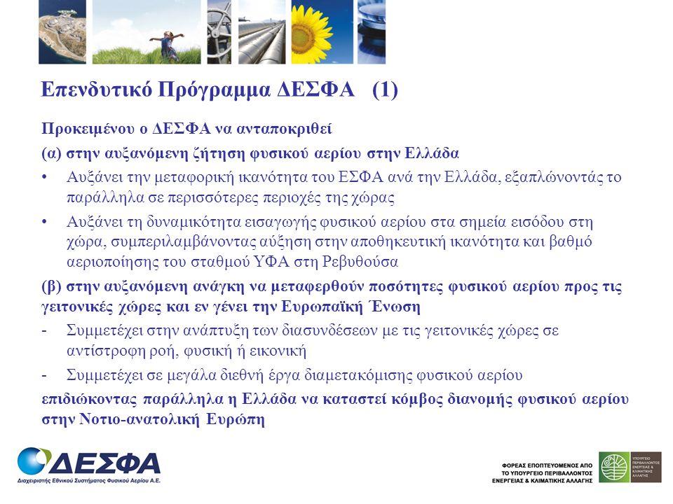 Επενδυτικό Πρόγραμμα ΔΕΣΦΑ (1) Προκειμένου ο ΔΕΣΦΑ να ανταποκριθεί (α) στην αυξανόμενη ζήτηση φυσικού αερίου στην Ελλάδα Αυξάνει την μεταφορική ικανότ
