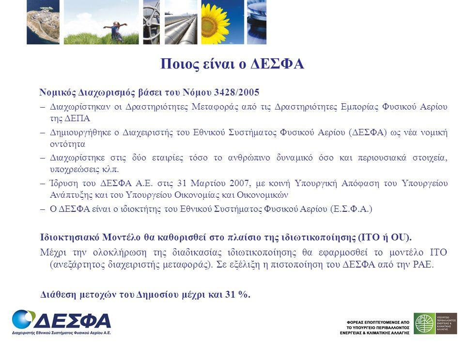 Ποιος είναι ο ΔΕΣΦΑ Νομικός Διαχωρισμός βάσει του Νόμου 3428/2005 –Διαχωρίστηκαν οι Δραστηριότητες Μεταφοράς από τις Δραστηριότητες Εμπορίας Φυσικού Α
