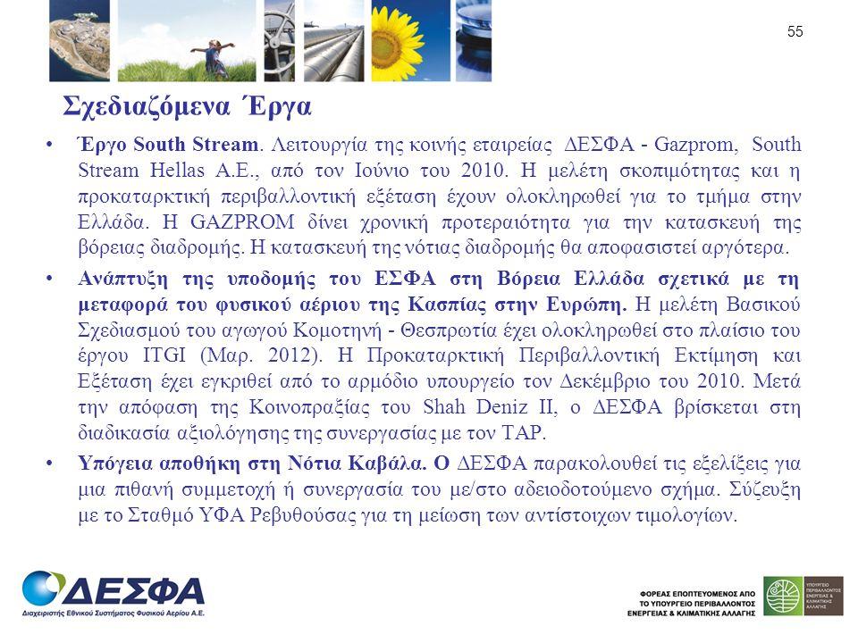 Σχεδιαζόμενα Έργα Έργο South Stream. Λειτουργία της κοινής εταιρείας ΔΕΣΦΑ - Gazprom, South Stream Hellas Α.Ε., από τον Ιούνιο του 2010. Η μελέτη σκοπ