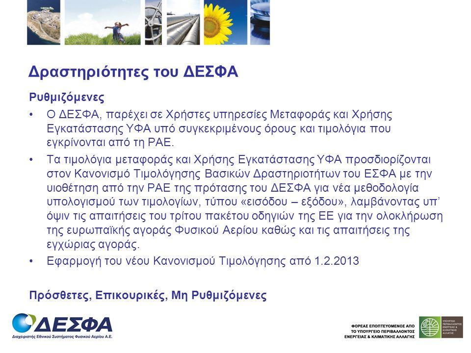 Δραστηριότητες του ΔΕΣΦΑ Ρυθμιζόμενες Ο ΔΕΣΦΑ, παρέχει σε Χρήστες υπηρεσίες Μεταφοράς και Χρήσης Εγκατάστασης ΥΦΑ υπό συγκεκριμένους όρους και τιμολόγ