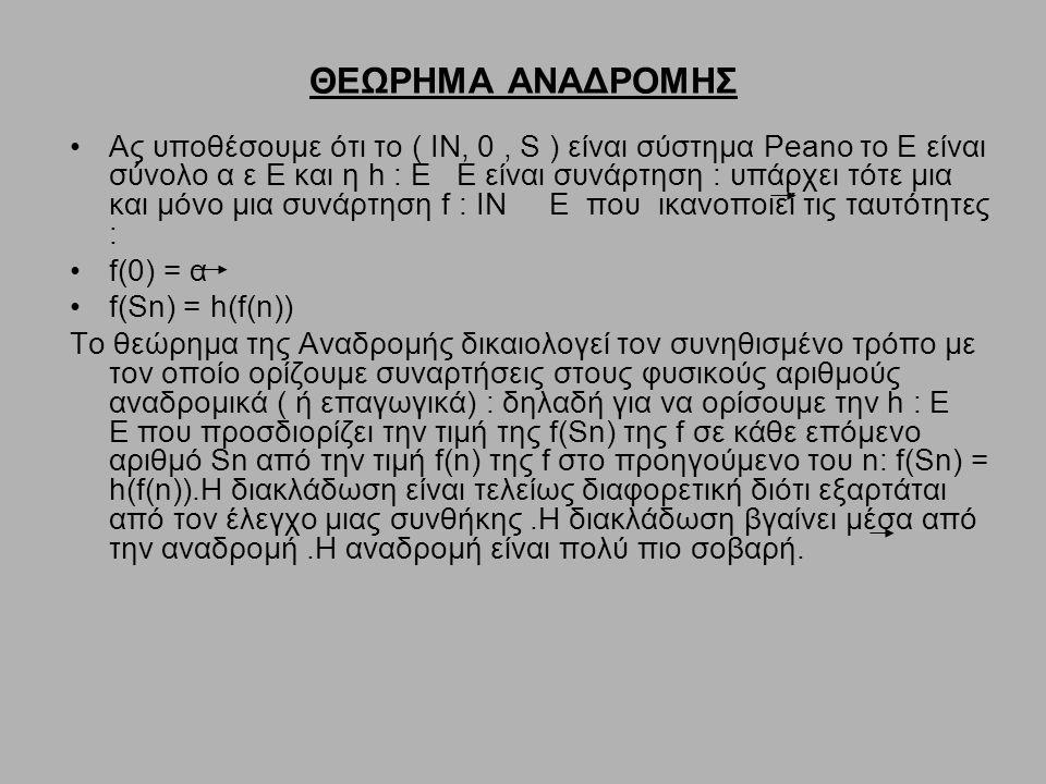 ΘΕΩΡΗΜΑ ΑΝΑΔΡΟΜΗΣ Ας υποθέσουμε ότι το ( ΙΝ, 0, S ) είναι σύστημα Peano το Ε είναι σύνολο α ε Ε και η h : Ε Ε είναι συνάρτηση : υπάρχει τότε μια και μ