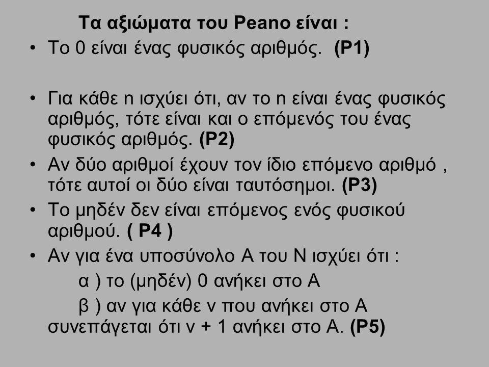 Τα αξιώματα του Peano είναι : Το 0 είναι ένας φυσικός αριθμός. (P1) Για κάθε n ισχύει ότι, αν το n είναι ένας φυσικός αριθμός, τότε είναι και ο επόμεν