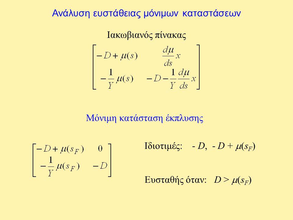 Ανάλυση ευστάθειας μόνιμων καταστάσεων Ιακωβιανός πίνακας Μόνιμη κατάσταση έκπλυσης Ιδιοτιμές: - D, - D +  s F ) Ευσταθής όταν: D >  (s F )