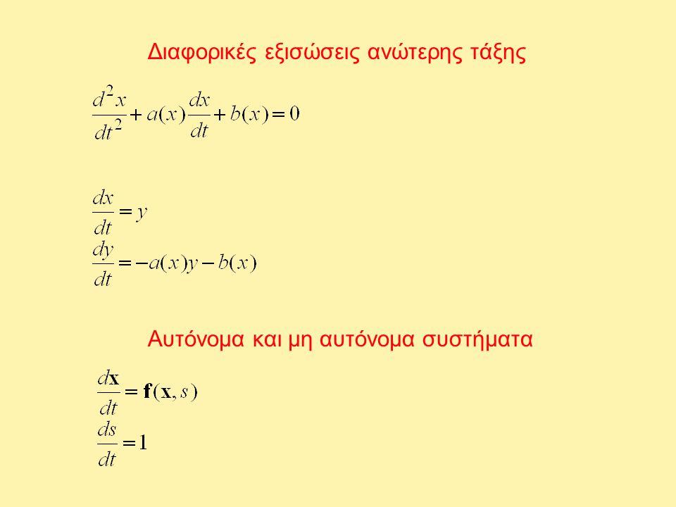 Διαφορικές εξισώσεις ανώτερης τάξης Αυτόνομα και μη αυτόνομα συστήματα