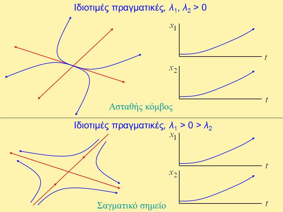 Ιδιοτιμές πραγματικές, λ 1, λ 2 > 0 Ασταθής κόμβος Ιδιοτιμές πραγματικές, λ 1 > 0 > λ 2 Σαγματικό σημείο