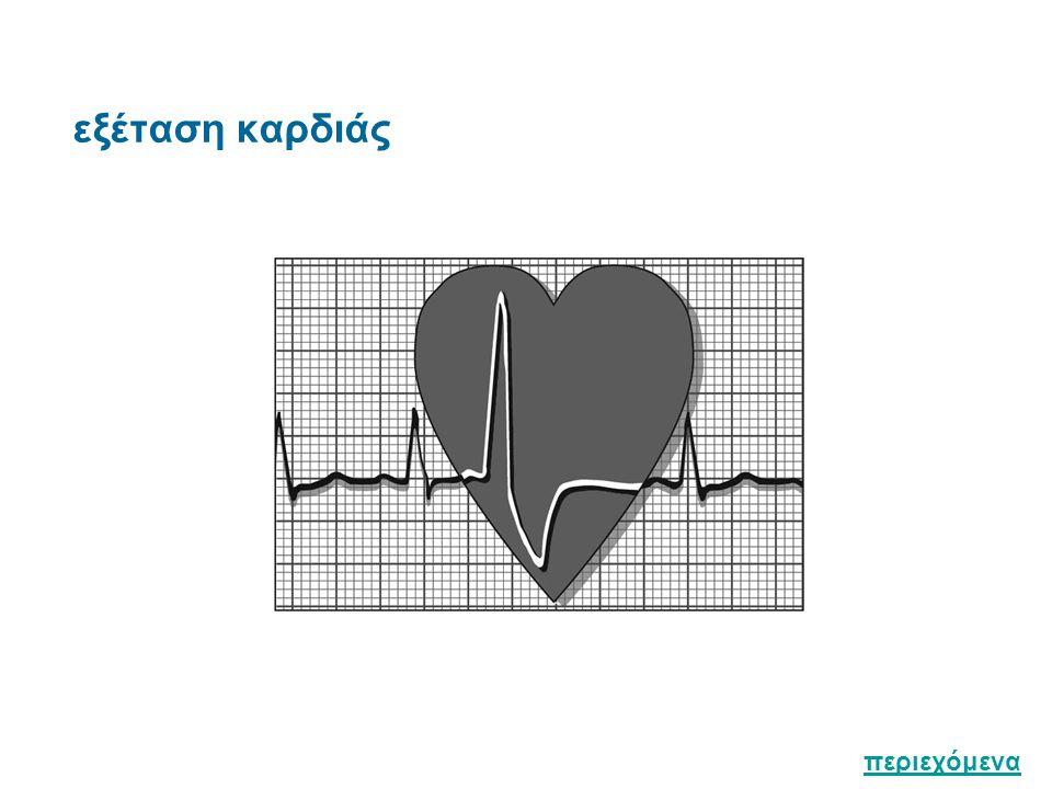 Τοπογραφία : Βάση της καρδιάς προς τα άνω / Κορυφή της καρδιάς προς τα κάτω Επισκόπηση Δύσπνοια στην κατάκλιση / ταχύπνοια / ορθόπνοια Επίφλεβο / Εισολκή μεσοπλεύριων διαστημάτων Καρδιακή ώση Φυσιολογικά ορατή σε λεπτόσωμους, στο 5ο μεσοπλεύριο διάστημα στην αριστερή μεσοκλειδική γραμμή Ψηλάφηση Καρδιακή ώση / καρδιακή τόνοι / ροίζοι ( τραχέα φυσήματα, αισθητά με την ψηλάφηση ) περιεχόμενα